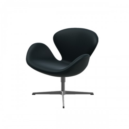 SWAN CHAIR KLASSIEK LEER ZWART