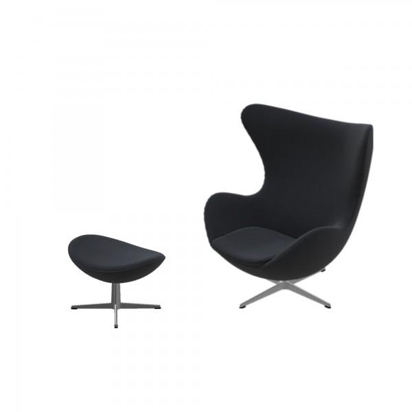 Egg Chair Stof.Fritz Hansen Egg Chair Gestoffeerd Tonus Zwart