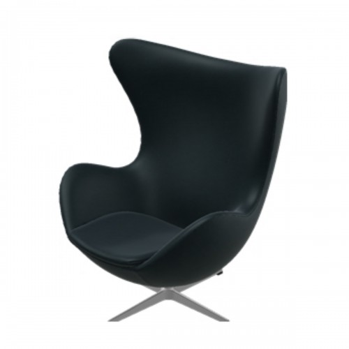 EGG CHAIR KLASSIEK LEER ZWART