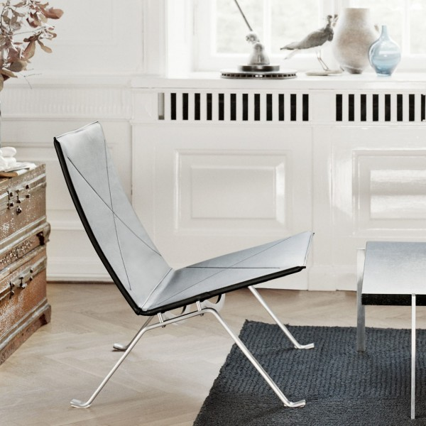 fritz hansen pk22 chair zwart klassiek leer. Black Bedroom Furniture Sets. Home Design Ideas