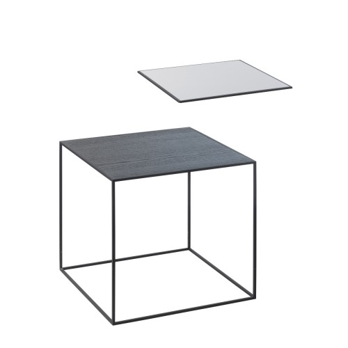 TWIN 35 TABLE COOL GREY/BLACK STAINED ASH