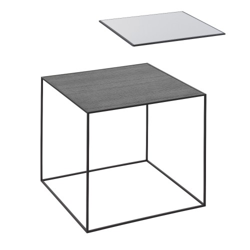 TWIN 42 TABLE COOL GREY/BLACK STAINED ASH