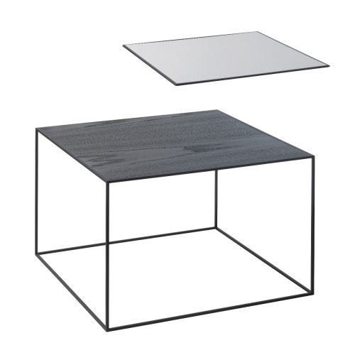TWIN 49 TABLE COOL GREY/BLACK STAINED ASH