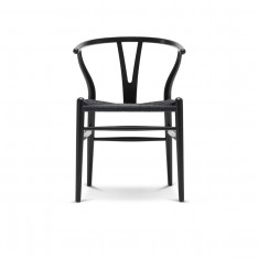 CH24 WISHBONE CHAIR - BLACK PAINTED + BLACK SEAT