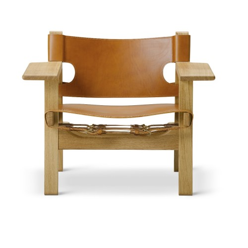 SPANISH CHAIR CUIR COGNAC