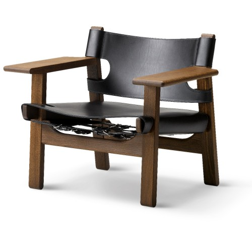 SPANISH CHAIR CUIR NOIR