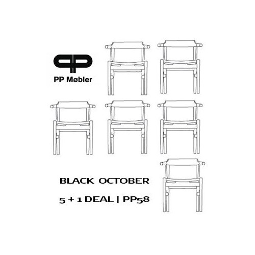 SET OF 6 PP58 CHAIRS - BLACK PAINTED/ BLACK LEATHER