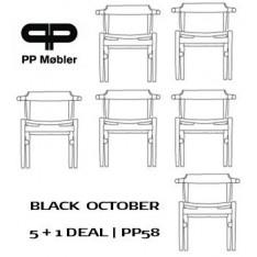 PP MOBLER PP58 STOEL - ZWART GELAKT/ZWART LEER