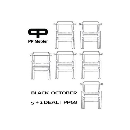 SET OF 6 PP68 CHAIRS - BLACK PAINTED/ NATURAL SEAT