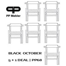 pp møbler PP68 CHAIR - BLACK PAINTED/ NATURAL SEAT