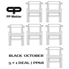 pp møbler PP68 STOEL - ZWART GELAKT/NATUURZIT