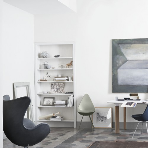 EGG CHAIR AURA LEER ZWART