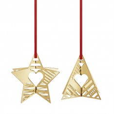 CHRISTMAS STAR & TREE 2019 - GOLD PLATED BRASS