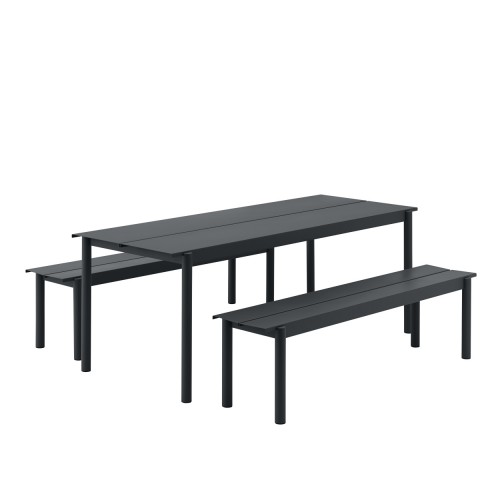 SET LINEAR TABLE 200CM + 2 BENCHES