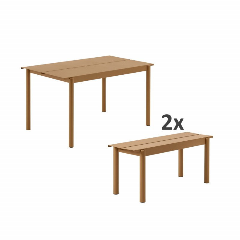 SET LINEAR TABLE 140CM + 2 BENCHES