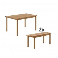 SET TABLE LINEAR 140CM + 2 BANCS