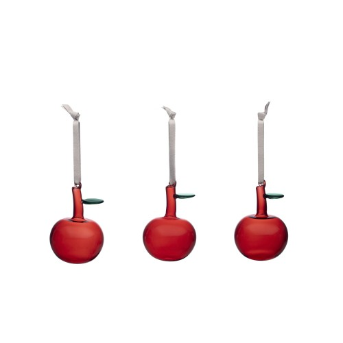 CHRISTMAS GLASS APPLE SET 3PCS RED